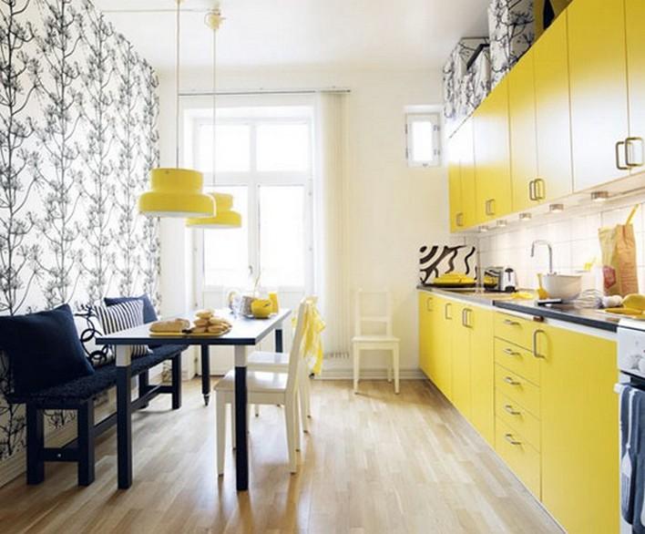 Кухня желтого цвета в интерьере
